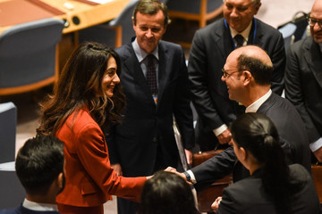 Amal Clooney arrives for a security council meeting at U.N. headquarters during the United Nations General Assembly in New York City