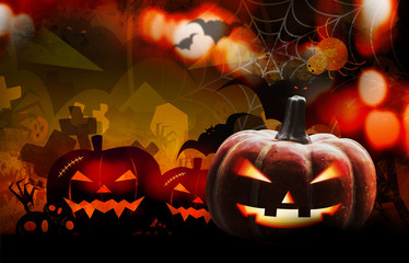 Halloween pumpkin design with copy space