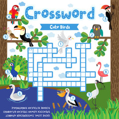 Crosswords puzzle game of cute birds animals for preschool kids activity worksheet colorful printable version. Vector Illustration.