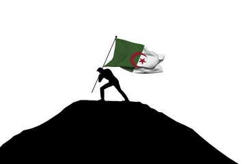 Algeria flag being pushed into mountain top by a male silhouette. 3D Rendering