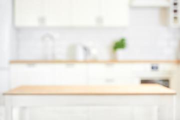 Defocused kitchen interior background