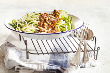 Vegan bolognese and zoodles