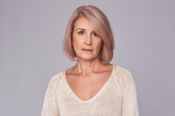 portrait of sad middle aged woman