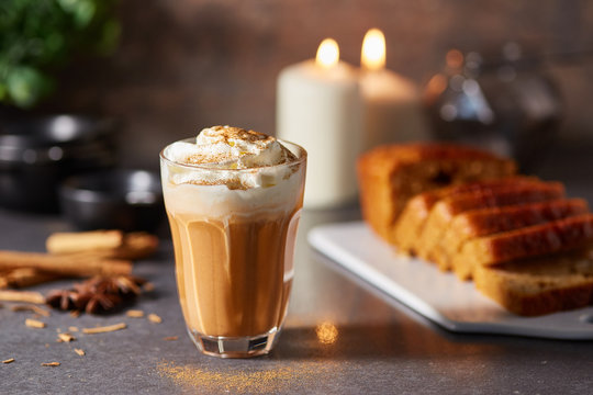 Glass of pumpkin spice lattes with cinnamon
