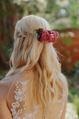 Fuschia Flowers in Bride's Hair