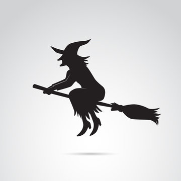 Witch on broom vector icon.