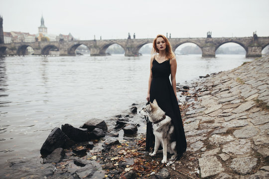 Young woman and a wolf