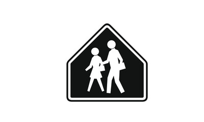 People crossing the street warning sign