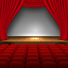 Open premium red curtains theater background movie presentation design and premiere now show. scene and seats. Vector Illustration