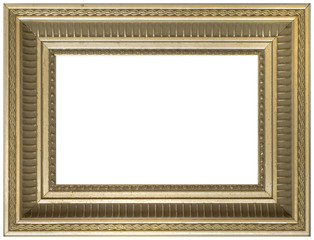 Aged vintage gold picture frame - isolated white