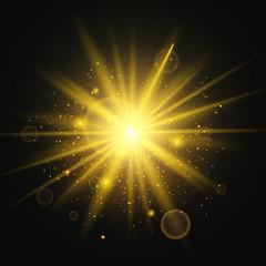 Light effect. Star burst with sparkles. Gold glitter texture on black background. Vector Illustration