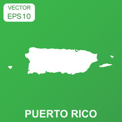 Puerto Rico map icon. Business concept Puerto Rico pictogram. Vector illustration on green background.