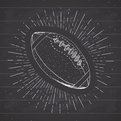 Football, rugby ball vintage label, Hand drawn sketch, grunge textured retro badge, typography design t-shirt print, vector illustration
