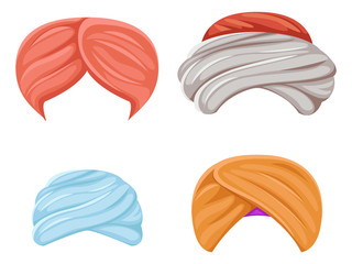 Arab indian culture headdress turban sikh sultan bedouin isolated icons set cartoon design video chat effects photo portrait vector illustration