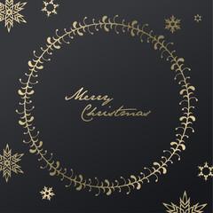 Handwritten Christmas illustration with golden snowflakes - dark version