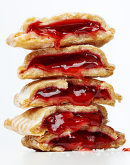 Stack of gooey cherry pies