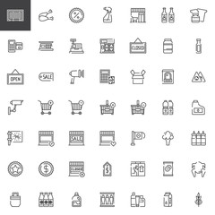 Supermarket shopping products line icons set, outline vector symbol collection, linear style pictogram pack. Signs, logo illustration. Set includes icons as cashier machine, barcode scanner, food