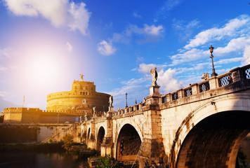 Ponte Sant' Angelo bridge in Rome, Italy with evening light