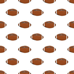 Football, rugby ball seamless pattern hand drawn sketch, vector illustration