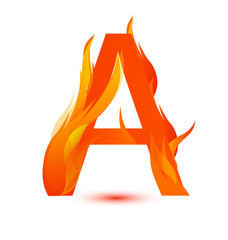 Letter A in fire flame icon vector