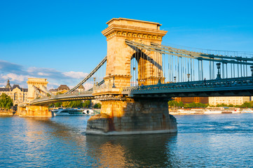 Chain bridge across the Danube river in Budapest, Hungary