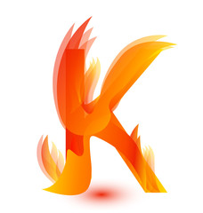 Letter K in fire flame icon vector