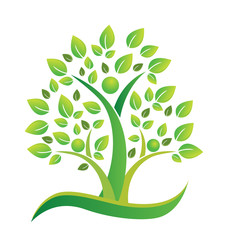 Tree green teamwork figures icon vector