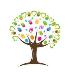 Tree teamwork hearts and hands vector icon