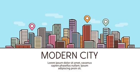 Modern city, banner. Cityscape, urban landscape, town concept. Vector illustration