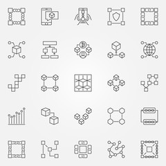 Blockchain icons set. Vector cryptography block chain concept sy