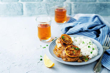 Moroccan lemon chicken with rice