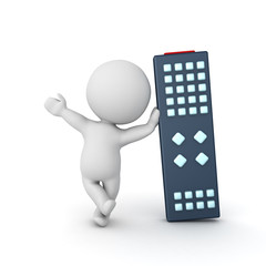 3D Character waving and leaning on giant remote control