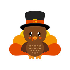 cute turkey vector with hat