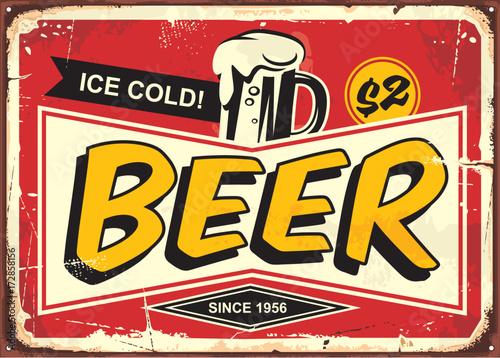 Beer vintage tin sign for cafe bar or pub decoration. Comic ...