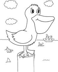 Pelican Bird Vector Illustration Art