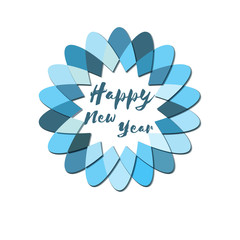 Happy New Year logo. Template for banners, celebration card, invitations  and greeting cards. Hand drawn text. Vector illustration