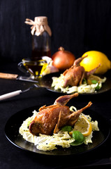 pair quail fowl baked basil lemon spices