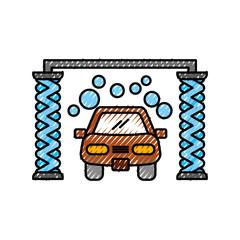 automatic car wash shampoo service center icon vector illustration