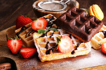 Belgian waffles with strawberries and raspberries, homemade healthy breakfast