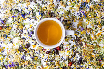 Tea with colorful herbal mixture