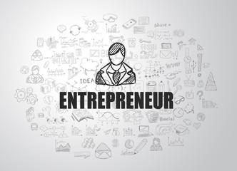 Entrepreneur concept with Business Doodle design style