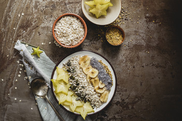 Muesli with carambola, seeds, dried banana and pollen