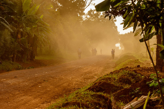 A very duty road around the Sipi falls in the Mount Elgon national park in Uganda
