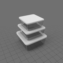 Stack of three storage containers