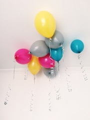 Bright balloons under the ceiling