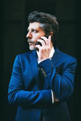 Portrait of a mature businessman talking on phone.