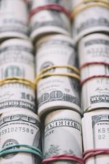 Rolls of hundred US Dollar bills