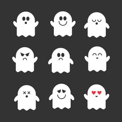 Collection of vector cute ghosts. Flat icons for web, print, mobile apps design