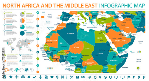 North Africa Map - Info Graphic Vector Illustration\