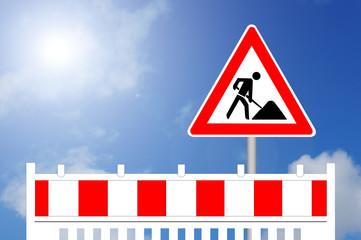 Baustelle, Baustellenabsperrung und Baustellenschild